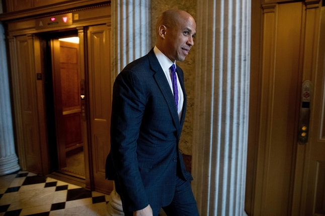 Cory Booker walks the halls in the Capitol on Nov. 16, 2016