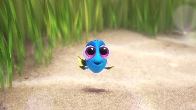 A tiny Dory pictured in a flashback in 'Finding Dory'