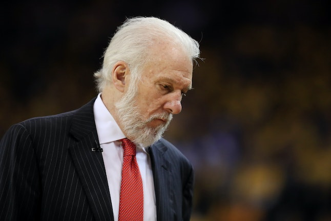 Gregg Popovich of the San Antonio Spurs looks on during Game Two of the NBA Western Conference Finals against the Golden State Warriors in May.