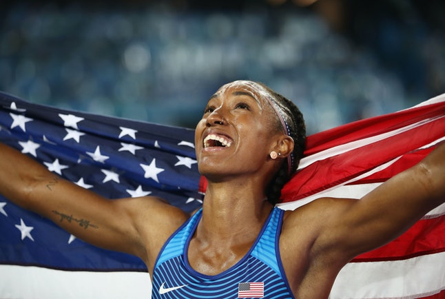 Brianna Rollins won gold in the 100 meter hurdles at the 2016 Rio Olympics.