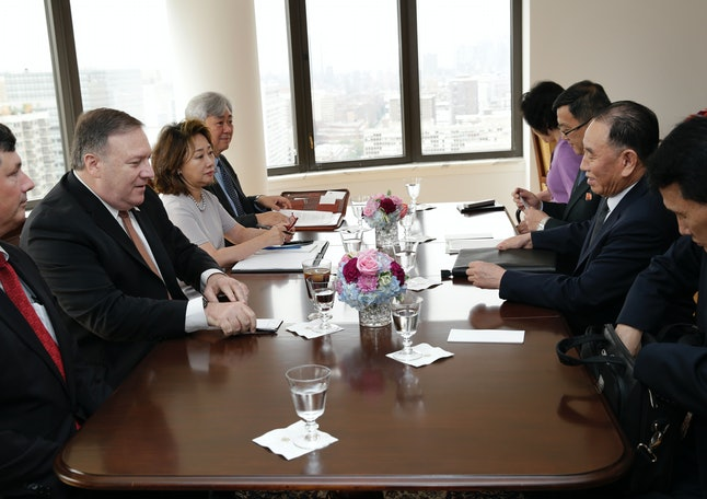 Mike Pompeo and Kim Yong Chol meet with delegations from the U.S. and North Korea in New York City on Thursday.