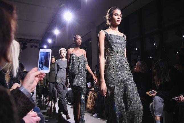 odels walk the runway during the Zac Posen Fall 2016 fashion show during NYFW.