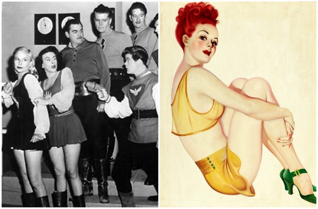 """A still from the show """"Space Patrol"""" and a Bergey pinup."""