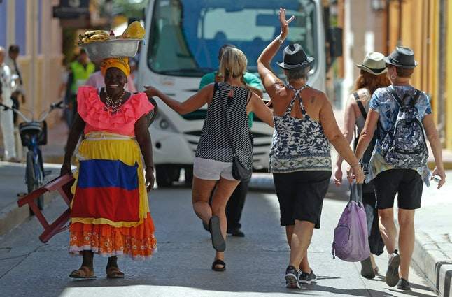 Tourists in Cartagena, Colombia