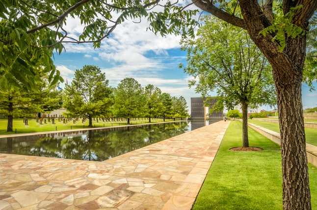 The memorial commemorating the lives lost in the 1995 terror attack on Oklahoma City's federal building