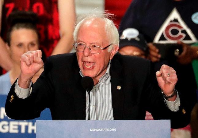 Bernie Sanders at a rally in April