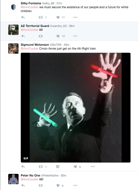 """""""Cmon Annie just get on the Alt-Right train,"""" said one user, along with an image of Hitler."""