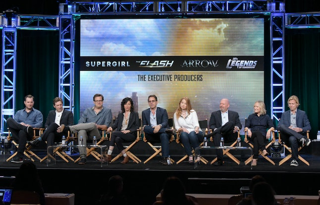 Aaron and Todd Helbing (far left) along with the rest of the Arrowverse executive producers.