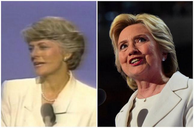Geraldine Ferraro in 1984 and Hillary Clinton in 2016