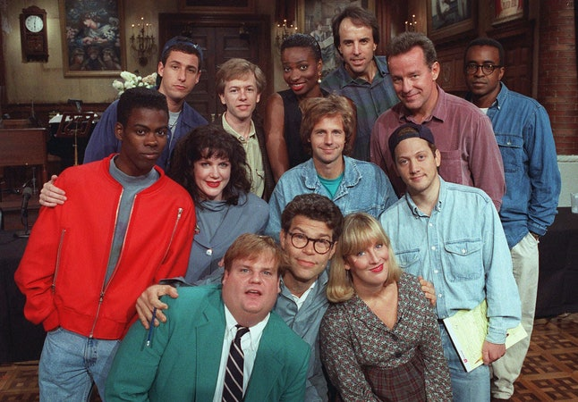 Al Franken and the 'Saturday Night Live' cast members in 1992