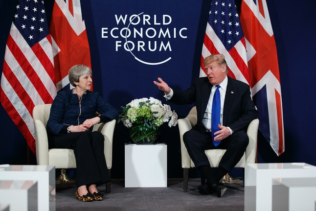 President Donald Trump meets with British Prime Minister Theresa May at the World Economic Forum on Thursday.