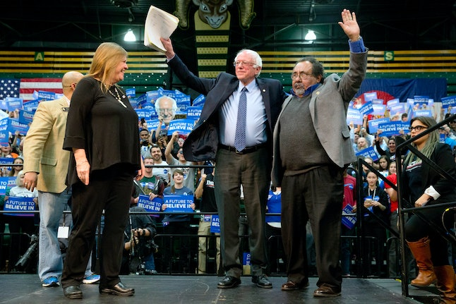 Bernie Sanders stumps with Rep. Raul Grijalva of Arizona, one of his few congressional supporters.