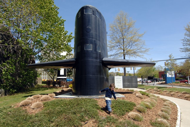 On the grounds of the Submarine Force Library and Museum in Groton