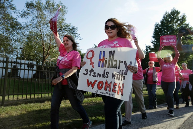 Supporters of Hillary Clinton rally before the first presidential at Hofstra University in New York in late September.