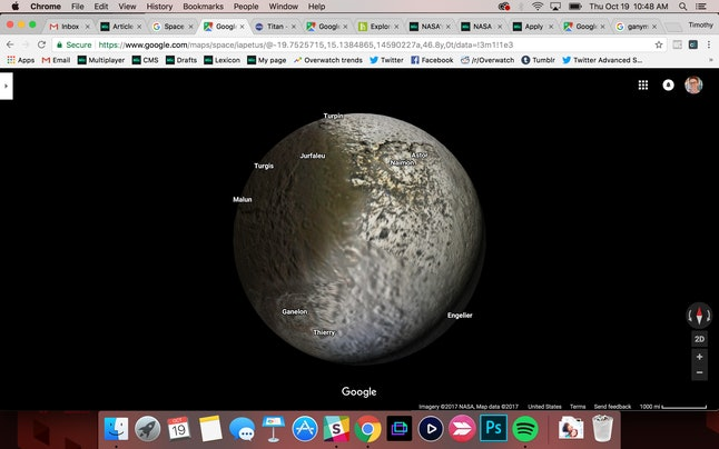 "Iapetus, Saturn's moon with a ""yin and yang"" appearance from its atmosphere, on Google Maps"