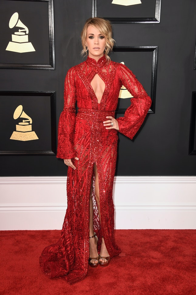 Carrie Underwood attends The 59th GRAMMY Awards at STAPLES Center on February 12, 2017
