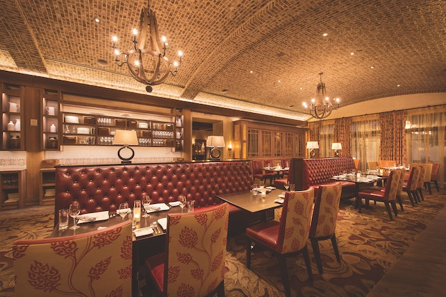 The dining room of Markham's resembles a Tuscan wine cellar.