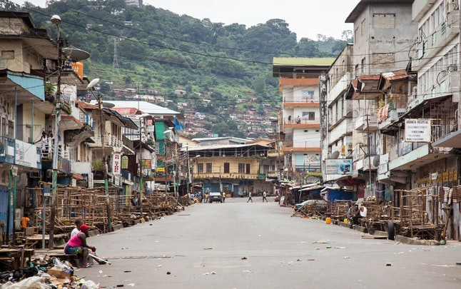 Empty streets are seen during a three-day lockdown to prevent the spread on the Ebola virus, in Freetown, Sierra Leone, Sunday, Sept. 21, 2014.