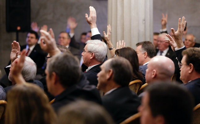 Members of the Tennessee House Republican caucus vote to remove Rep. Jeremy Durham in January.