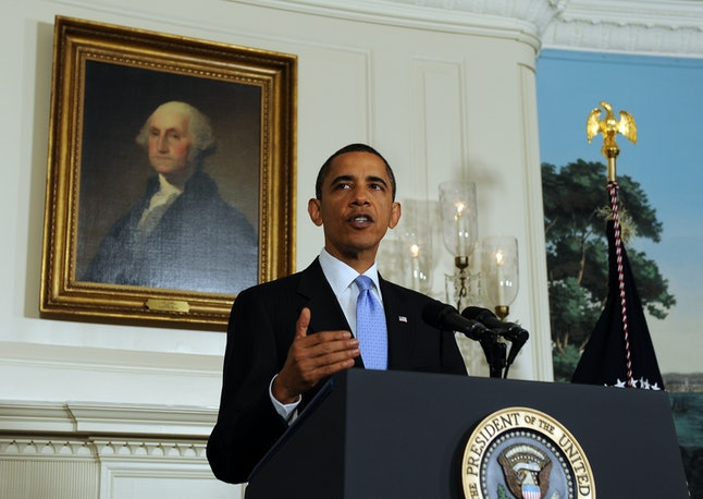 Then-President Barack Obama speaks in the Diplomatic Reception Room of the White House in 2010.