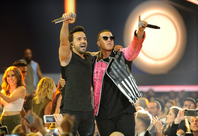 Luis Fonsi and Daddy Yankee onstage at the Billboard Latin Music Awards on April 27, 2017, in Coral Gables, Florida.