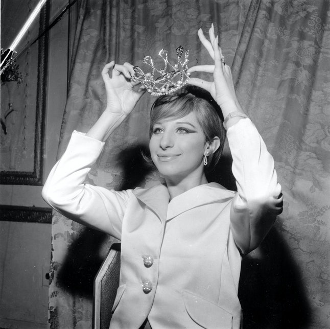 Barbra Streisand poses at the Ziegfeld Club Ball at New York's Waldorf Astoria Hotel on Nov. 20, 1964.