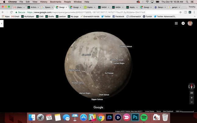 Ganymede, a moon of Jupiter larger than Mercury and Pluto, in Google Maps