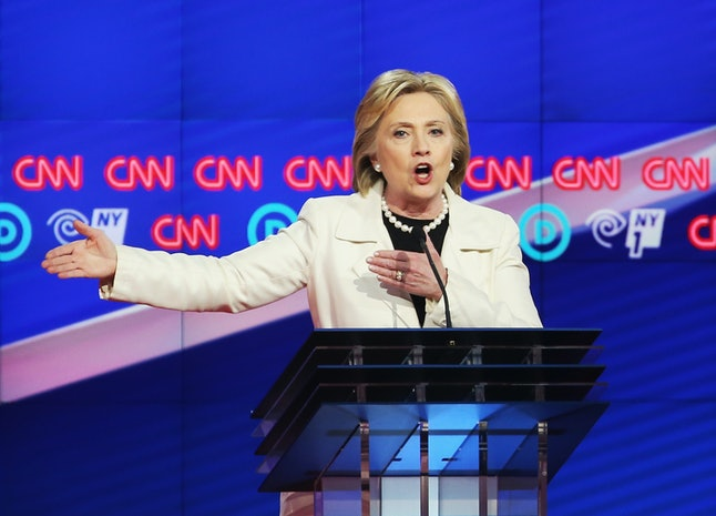 Hillary Clinton at a Democratic presidential primary debate in New York City in April.