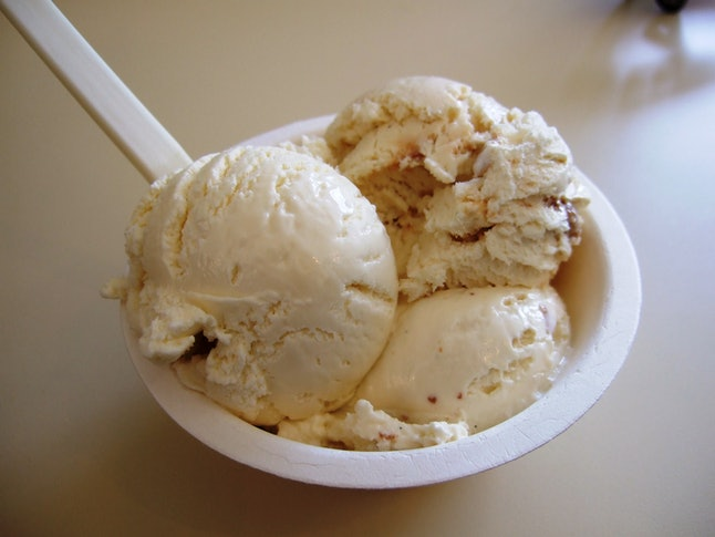 The left-most scoop in this bowl is a meat-flavored ice cream.