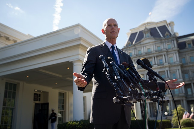 Florida Gov. Rick Scott speaks to reporters following his meeting with President Donald Trump at the White House on Sept. 29 in Washington, D.C.