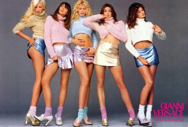 Nadja Auermann, Christy Turlington, Claudia Schiffer, Cindy Crawford and Stephanie Seymour in a 1994 Versace ad