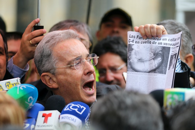 Former Colombian President Uribe talking to the press on Sunday