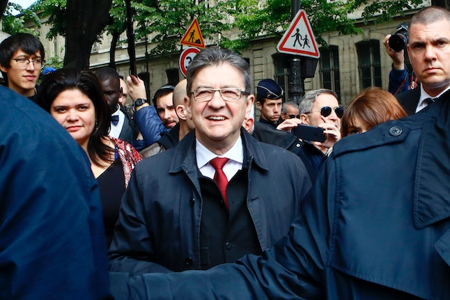 Jean-Luc Mélenchon on April 23 after casting his ballot in the French election.
