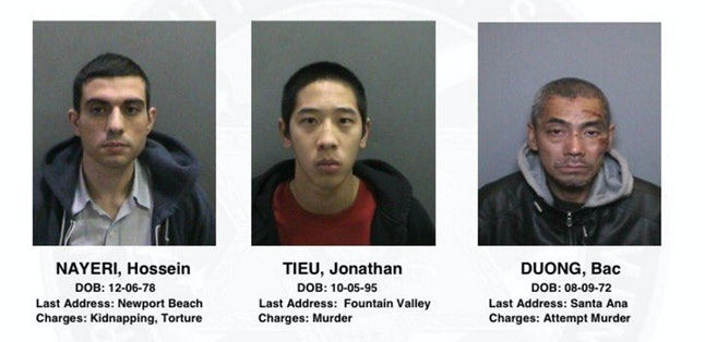 Hossein Nayeri, Jonathan Tieu and Bac Duong, three inmates on the run from Orange County Central Men's Jail.