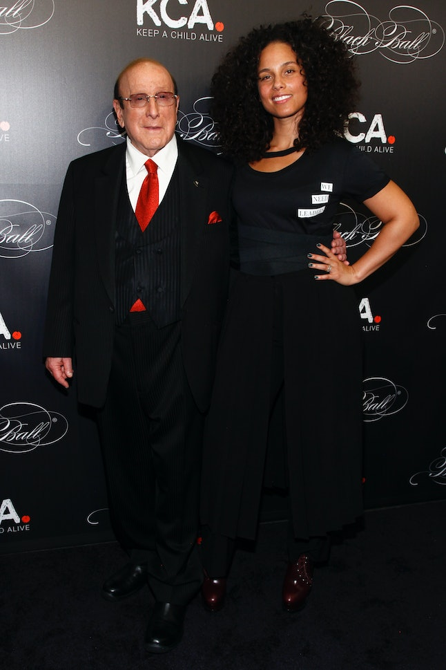 Alicia Keys and Clive Davis on the Black Ball red carpet