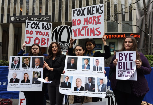 Protesters campaign for Bill O'Reilly's removal from Fox News.