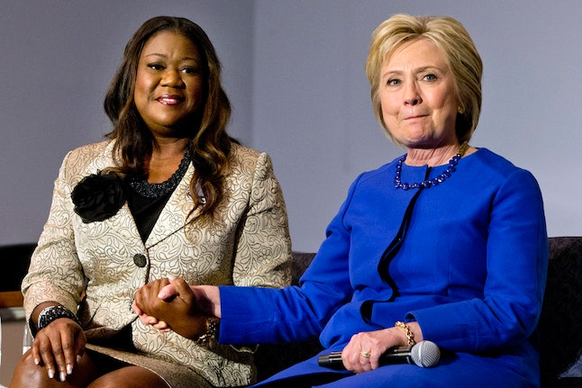 Sybrina Fulton appears with Hillary Clinton at a town hall on gun violence in South Carolina.