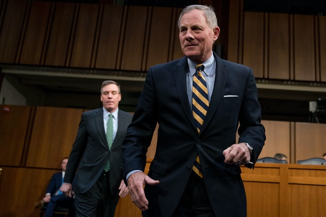 Richard Burr and Mark Warner, the top lawmakers on the Senate Intelligence Committee, arrive at a hearing in March.