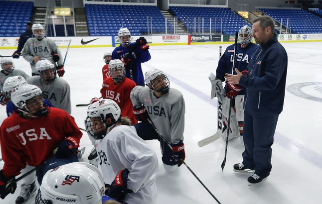 The U.S. women's hockey team at a December 2016 practice for March's world championships.