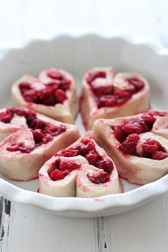 Heart-shaped raspberry rolls
