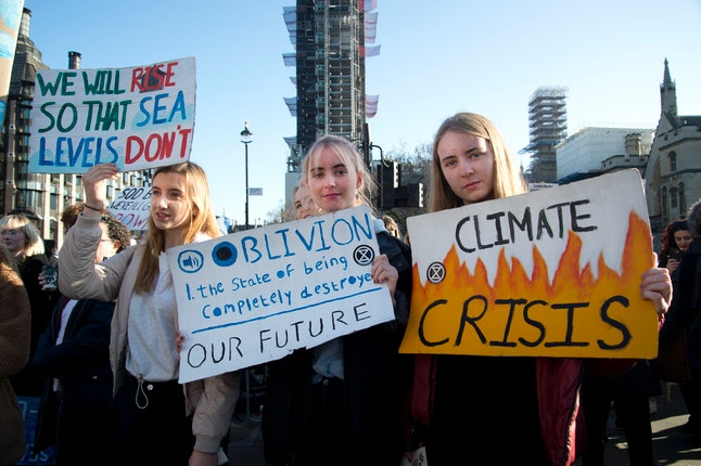 Young people take part in a climate strike