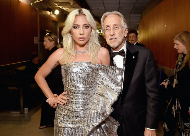 LOS ANGELES, CA - FEBRUARY 10: Lady Gaga and Neil Portnow backstage during the 61st Annual GRAMMY Awards at Staples Center on February 10, 2019 in Los Angeles, California. (Photo by Michael Kovac/Getty Images for The Recording Academy)