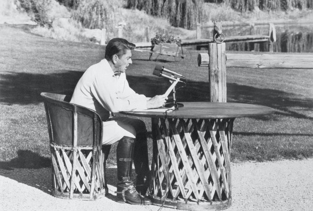 In October, 1982, President Ronald Reagan made a radio address from his ranch in California's Santa Ynez mountains.