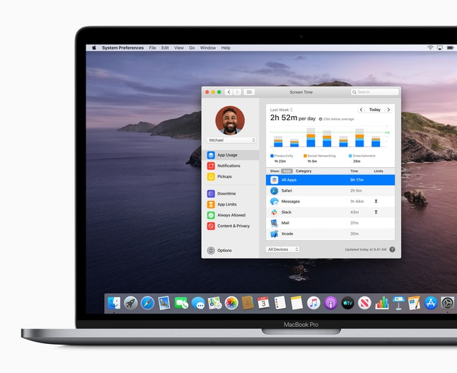 Screen time tracking on MacBook Pro running macOS Catalina.