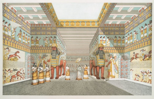 An artist's vision of the interior of an Assyrian palace, based on drawings made in 1849 by Austen Henry Layard on the site of 19th century excavations.
