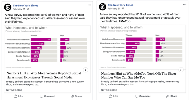The news post on the right is identical to the original news post published on Facebook, except for the bolded #MeToo hashtag in the post text, which was not included in the original version.