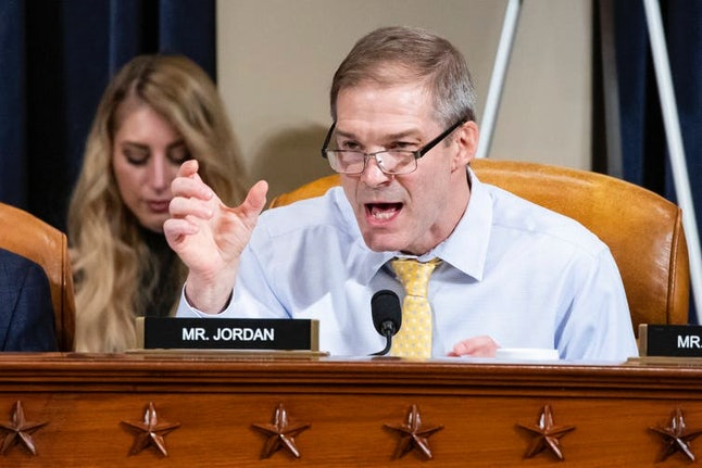 One of Trump's most prominent supporters, Rep. Jim Jordan, R-Ohio, speaks during a House Intelligence Committee impeachment inquiry hearing, Nov. 20, 2019.