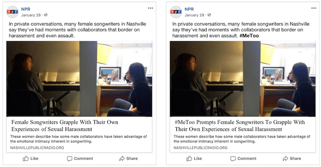 The original news post was identical to the one the right, except for the bolded #MeToo followed by the text description. For the control condition (left), we excluded the hashtag in the post text, as well as the phrase '#MeToo Prompts' in the headline.