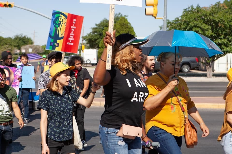 Gore at a protest in El Paso, Texas, after Johana Medina León, a transgender woman, died in ICE custody in June.