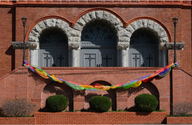The First United Methodist Church in Little Rock, Arkansas, displayed a rainbow decoration to signify that all, including LGBTQ, are welcome. dlewis33/ iStock / Getty Images Plus